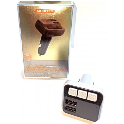 FM модулятор+Bluetooth+2USB C6