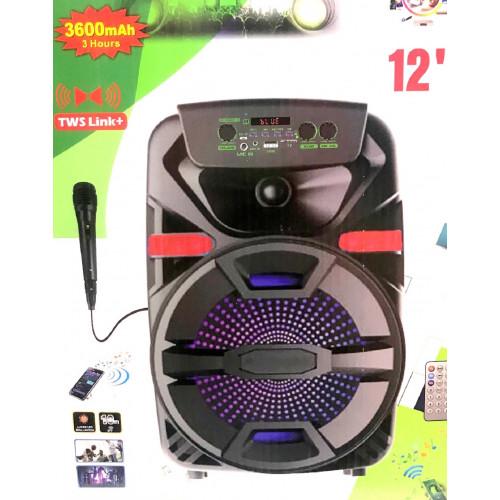 бумбокс+Bluetooth+USB+SD+радио+аккумулятор+микрофон+эквалайзер+светомузыка ZQS-12105