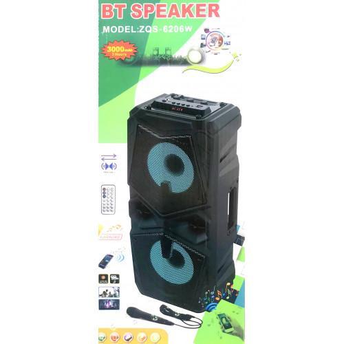 бумбокс+Bluetooth+USB+SD+радио+аккумулятор+микрофон+эквалайзер+светомузыка ZQS-6206