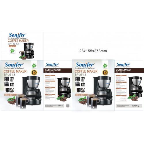 кофеварка электрическая Sonifer, емкость 0.65л, мощноть 600w SF-3513