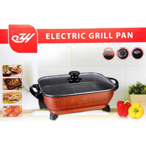электрический гриль сковородка с регулятором температуры, мощность 1800w, размер 31х39см