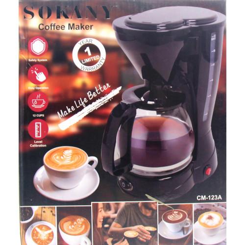 кофеварка электричсекая SOKANY, объем 1.5л, мощность 800w CM-123a