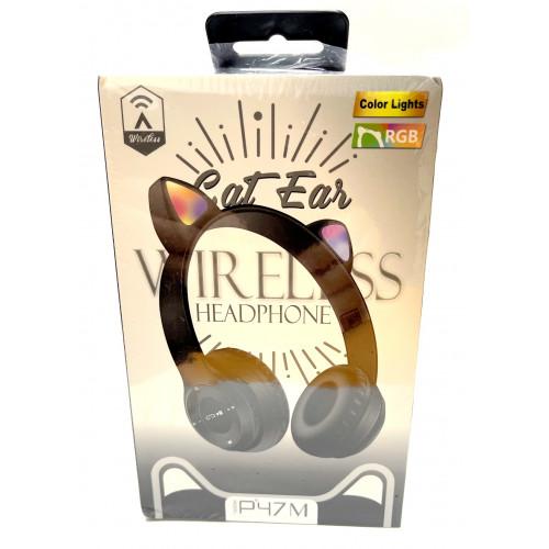 наушники беспроводные P47M со светящимися кошачьими ушками