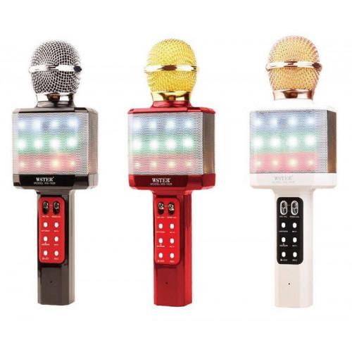 колонка микрофон+светомузыка+Bluetooth+USB+радио+аккумулятор WSTER WS-1828