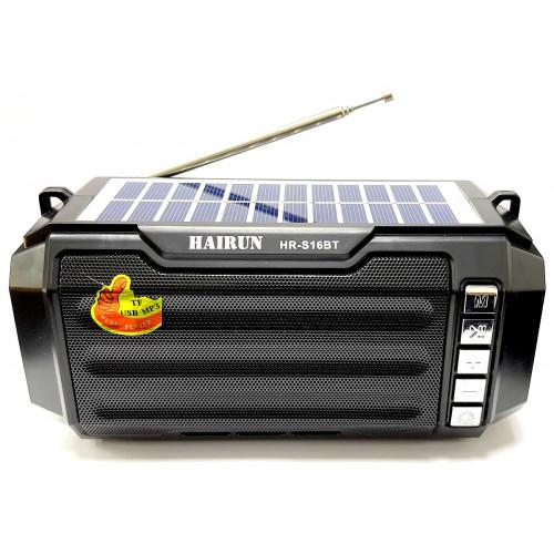 колонка HAIRUN+Bluetooth+USB+SD+радио+фонарик+аккумулятор 18650+солнечная зарядка HR-S16BT