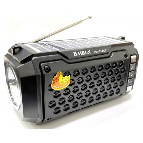 колонка HAIRUN+Bluetooth+USB+SD+радио+фонарик+аккумулятор 18650+солнечная зарядка HR-S17BT