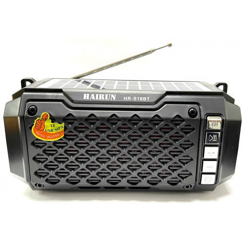 колонка HAIRUN+Bluetooth+USB+SD+радио+фонарик+аккумулятор 18650+солнечная зарядка HR-S18BT