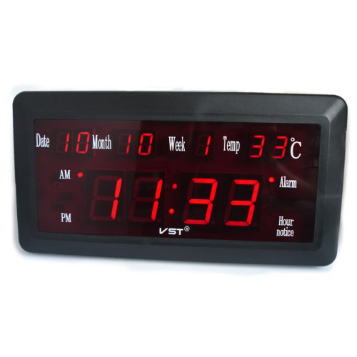 часы настенные+дата+температура VST-780W/1 (красный) 1 сорт