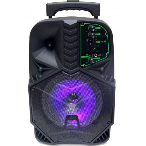 бумбокс+Bluetooth+USB+SD+радио+аккумулятор+микрофон+эквалайзер+светомузыка  ZQS-1839
