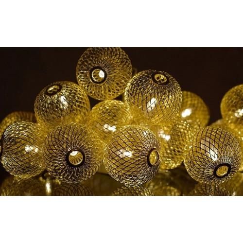 гирлянда золотые металлические шары (светодиодная) сетка, ярко-золотая GOLD 4