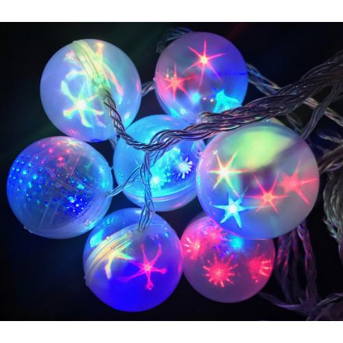 гирлянда большие шары прозрачная (светодиодная) штора 8 ламп LED-9001