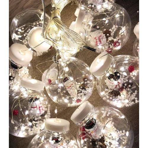 гирлянда большие шары с игрушкой прозрачная (светодиодная, теплый цвет) штора 10 ламп LED-9002