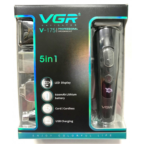машинка для стрижки волос+цифровой дисплей+бритва+триммер 5в1 VGR V-175