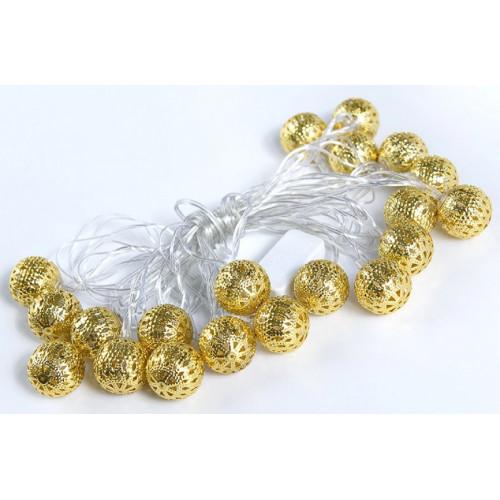 гирлянда золотые металлические шары (светодиодная) сетка, цветная ZG-40L-5