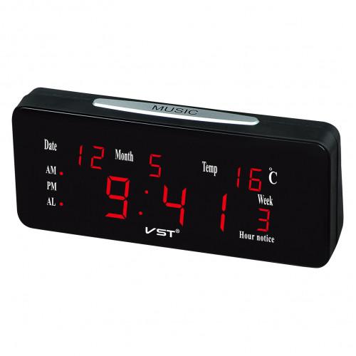часы настольные+дата+температура VST-763WX/1 (красный) 1 сорт
