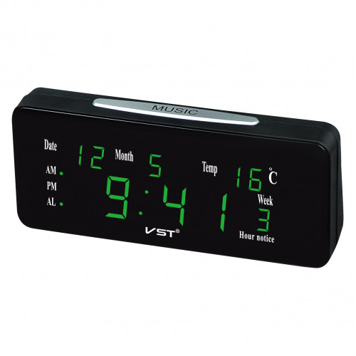 часы настольные+дата+температура VST-763WX/4 (ярко-зеленый) 1 сорт