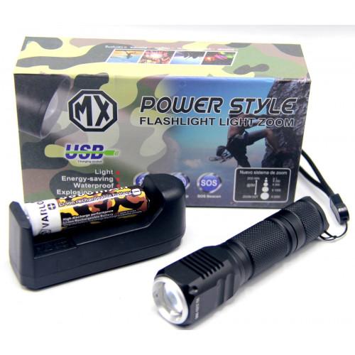 фонарик POLICE+аккумулятор+зарядка от сети+ZOOM MX-1017-T6