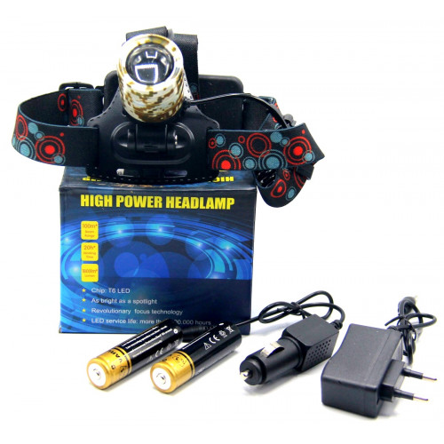 фонарик налобный металлический+аккумулятор+зарядка от сети+авто+ZOOM+3 режима MX-2183M-T6