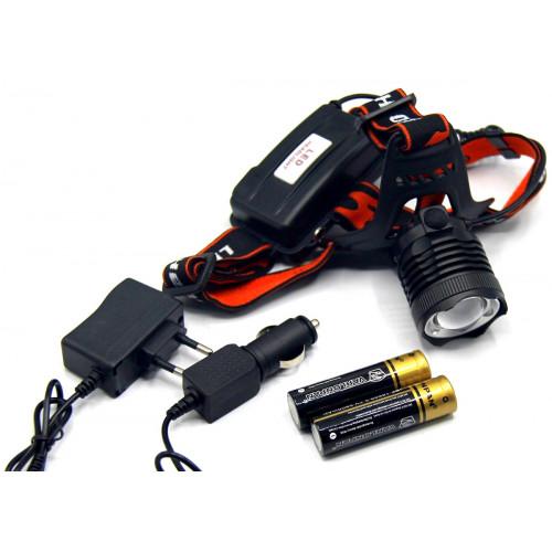 фонарик налобный металлический+аккумулятор+зарядка от сети+авто+ZOOM+3 режима MX-41-T6
