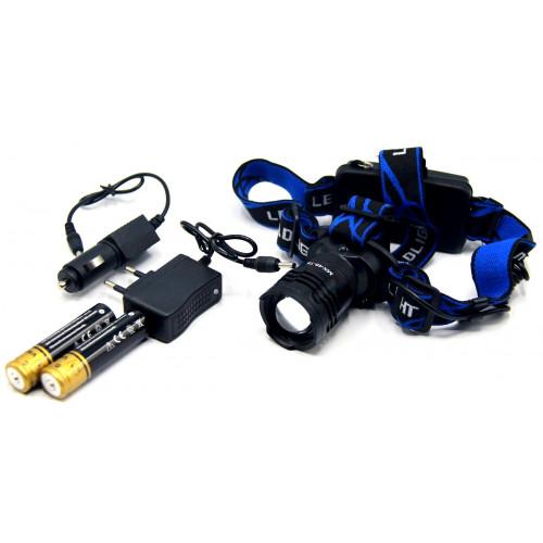 фонарик налобный металлический+аккумулятор+зарядка от сети+авто+ZOOM+3 режима MX-48-T6
