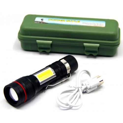 фонарик металлический+аккумулятор+зарядка Micro+ZOOM+3 режима MX-520-T6