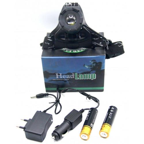 фонарик налобный металлический+аккумулятор+зарядка от сети+авто+ZOOM+3 режима MX-K12-T6