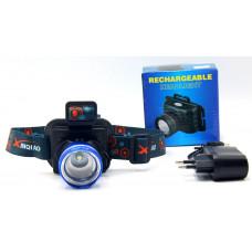 фонарик налобный металлический+аккумулятор+зарядка от сети+4 режима MX-6807
