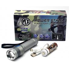 фонарик металлический+аккумулятор+зарядка Micro+ZOOM MX-S18