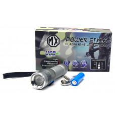 фонарик металлический+аккумулятор+зарядка Micro+ZOOM MX-S26