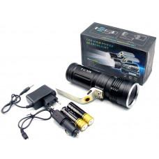 фонарик металлический+аккумулятор+зарядка от сети+авто+ZOOM+3 режима MX-T-4