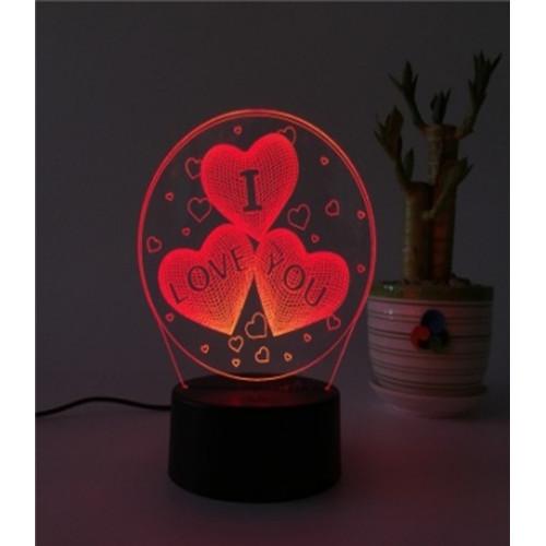 3D ночник Сердечки (3 режима) 1105