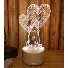 3D ночник Сердечки (3 режима) 1111