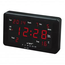 часы настенные+дата+температура VST-802W/1 (красный) 1 сорт