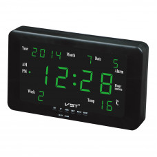 часы настенные+дата+температура VST-802W/4 (ярко-зеленый) 1 сорт