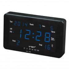 часы настенные+дата+температура VST-802W/5 (ярко-синий) 1 сорт
