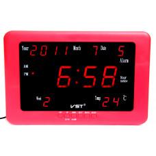 часы настенные+дата+температура VST-802WX/1 (красный корпус) 1 сорт