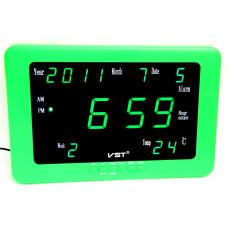 часы настенные+дата+температура VST-802WX/4 (ярко-зеленый корпус) 1 сорт