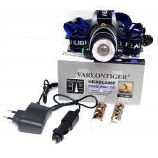фонарик налобный металлический+аккумулятор+зарядка от сети+авто+ZOOM+4 режима MX-19