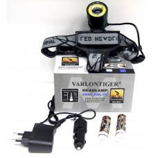 фонарик налобный металлический+аккумулятор+зарядка от сети+авто+ZOOM+4 режима MX-2120-T6
