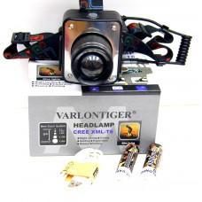 фонарик налобный металлический+аккумулятор+зарядка Micro+ZOOM+4 режима MX-W629-T6