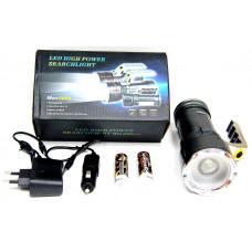 фонарик металлический+аккумулятор+зарядка от сети+авто+ZOOM+3 режима MX-688