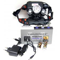фонарик налобный металлический+аккумулятор+зарядка от сети+авто+4 режима MX-A5-T6