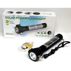 фонарик металлический+аккумулятор+солнечная зарядка+зарядка Micro+USB+аварийный молоток+компас T09