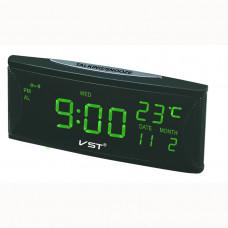 часы настольные+дата+термометр VST-719W/4 (ярко-зеленый) 1 сорт
