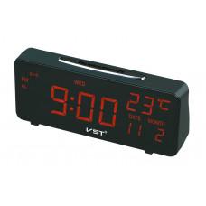 часы настольные+дата+термометр VST-763W/1 (красный) 1 сорт