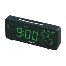 часы настольные+дата+термометр VST-763W/4 (ярко-зеленый) 1 сорт