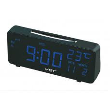 часы настольные+дата+термометр VST-763W/5 (ярко-синий) 1 сорт