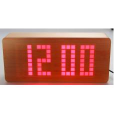 часы (деревянные)+дата+температура+секундомер VST-871/1 (красный) 1 сорт