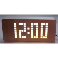 часы (деревянные)+дата+температура+секундомер VST-871/6 (белый) 1 сорт