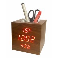 часы (деревянные) дата температура подставка VST-878S/1 (красный) 1 сорт
